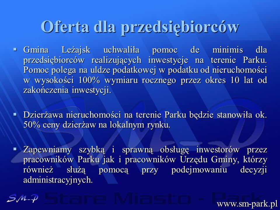Oferta dla przedsiębiorców Gmina Leżajsk uchwaliła pomoc de minimis dla przedsiębiorców realizujących inwestycje na terenie Parku. Pomoc polega na uld