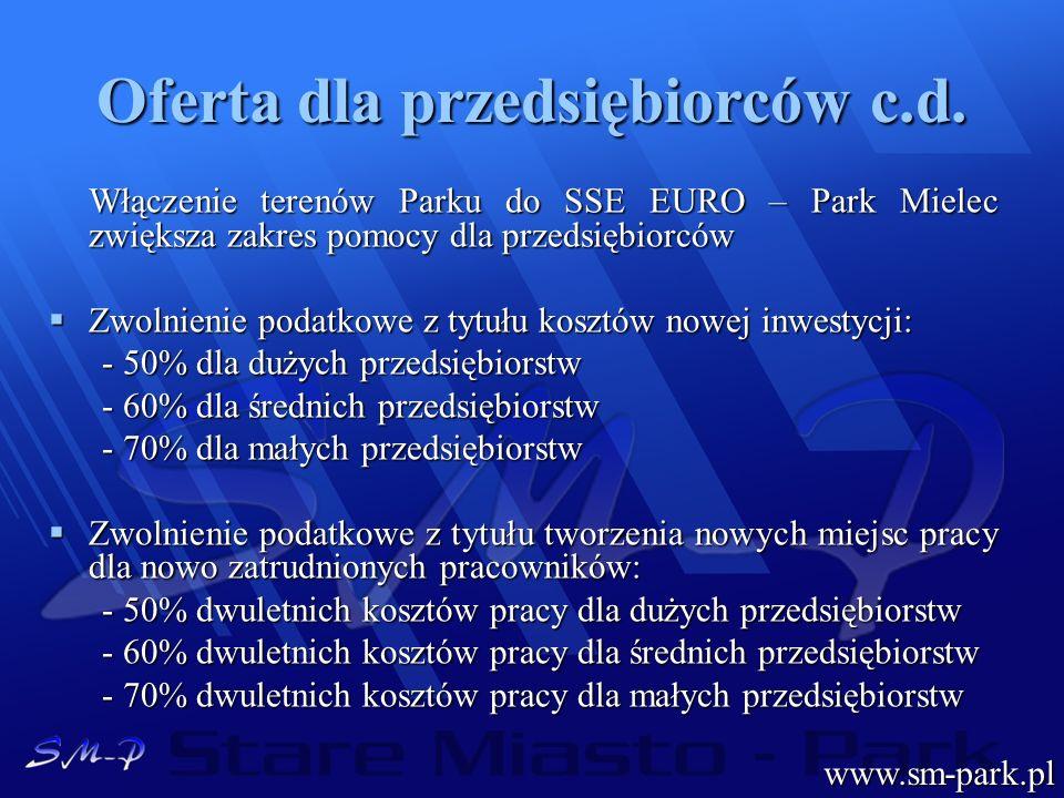 Oferta dla przedsiębiorców c.d. Włączenie terenów Parku do SSE EURO – Park Mielec zwiększa zakres pomocy dla przedsiębiorców Zwolnienie podatkowe z ty
