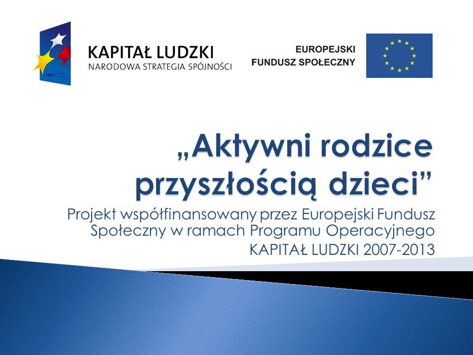 Projekt współfinansowany przez Europejski Fundusz Społeczny w ramach Programu Operacyjnego KAPITAŁ LUDZKI 2007-2013