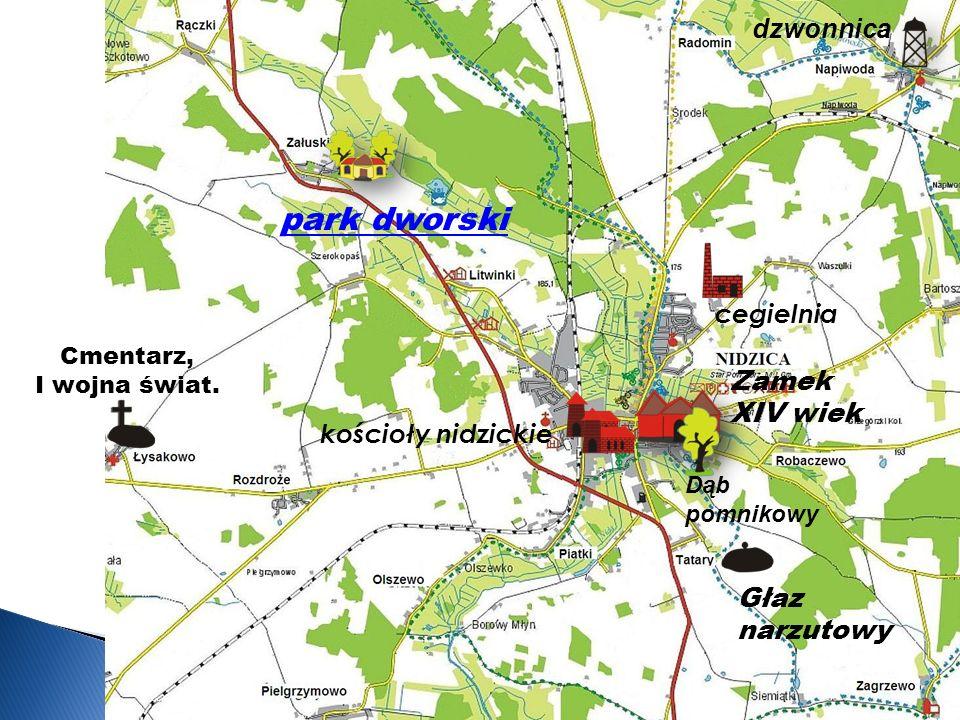 Zamek XIV wiek Głaz narzutowy Cmentarz, I wojna świat.