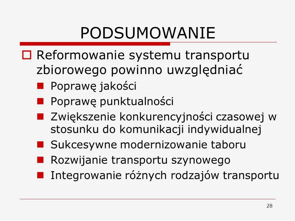 28 PODSUMOWANIE Reformowanie systemu transportu zbiorowego powinno uwzględniać Poprawę jakości Poprawę punktualności Zwiększenie konkurencyjności czas