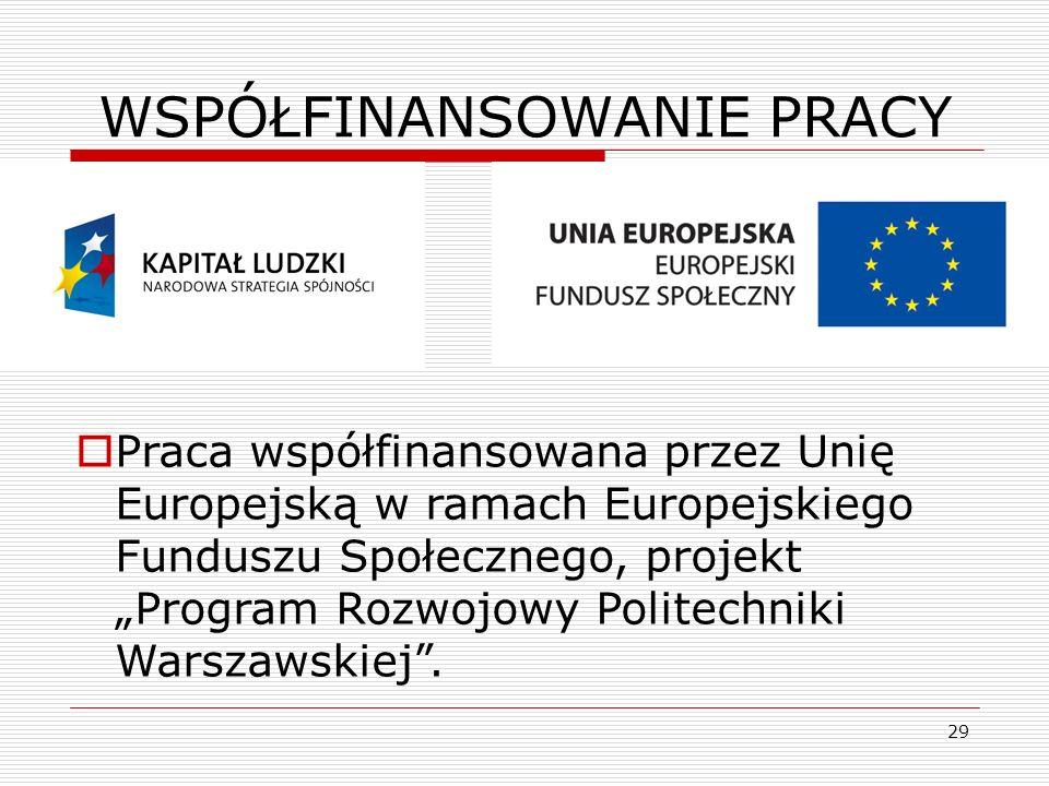 29 WSPÓŁFINANSOWANIE PRACY Praca współfinansowana przez Unię Europejską w ramach Europejskiego Funduszu Społecznego, projekt Program Rozwojowy Politec