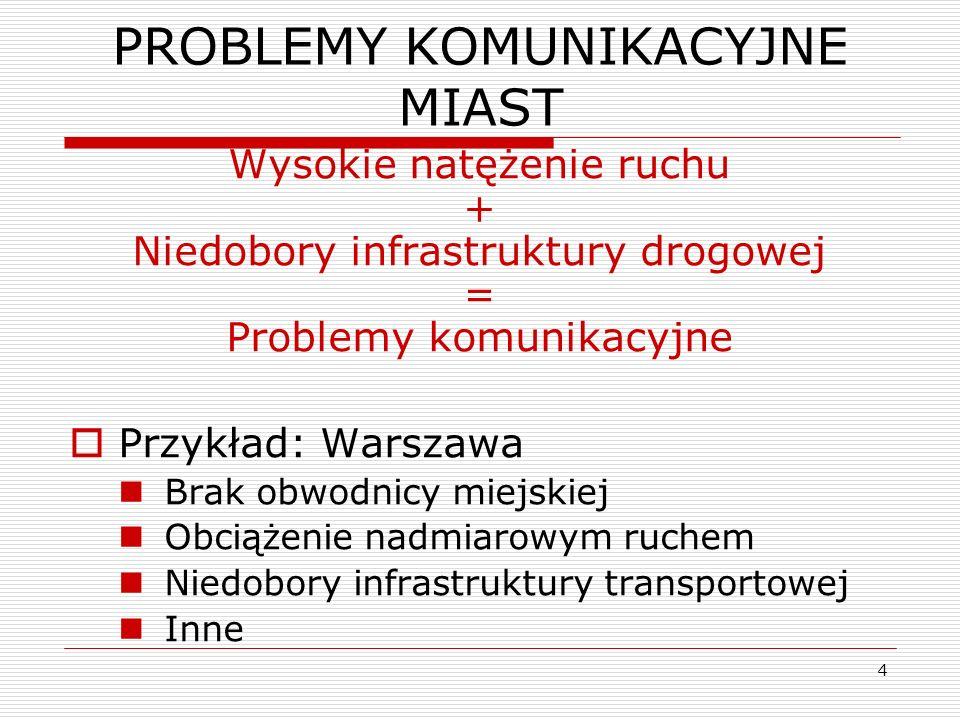 4 PROBLEMY KOMUNIKACYJNE MIAST Wysokie natężenie ruchu + Niedobory infrastruktury drogowej = Problemy komunikacyjne Przykład: Warszawa Brak obwodnicy