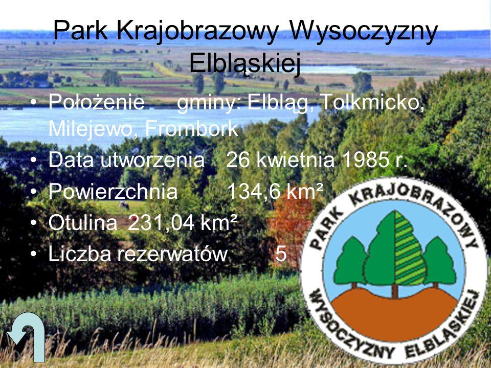 Park Krajobrazowy Wysoczyzny Elbląskiej Położeniegminy: Elbląg, Tolkmicko, Milejewo, Frombork Data utworzenia26 kwietnia 1985 r. Powierzchnia134,6 km²