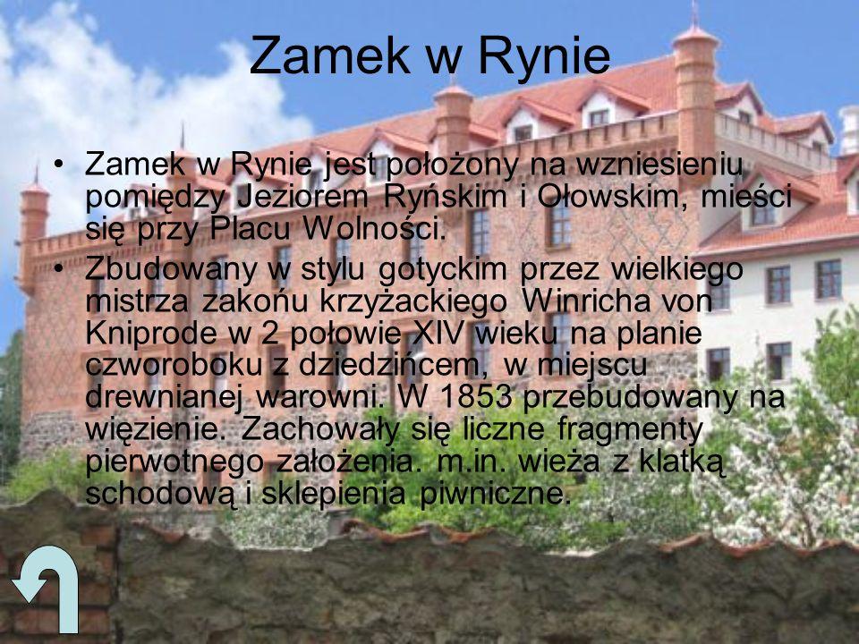 Zamek w Rynie Zamek w Rynie jest położony na wzniesieniu pomiędzy Jeziorem Ryńskim i Ołowskim, mieści się przy Placu Wolności. Zbudowany w stylu gotyc