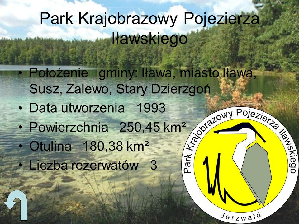 Park Krajobrazowy Pojezierza Iławskiego Położenie gminy: Iława, miasto Iława, Susz, Zalewo, Stary Dzierzgoń Data utworzenia 1993 Powierzchnia 250,45 k
