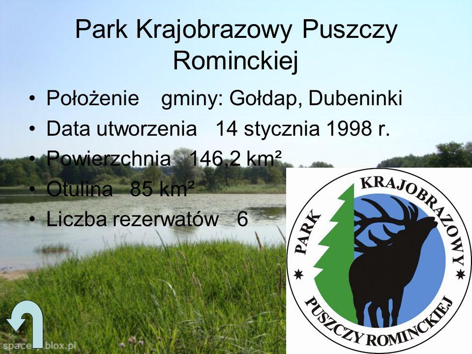 Park Krajobrazowy Puszczy Rominckiej Położenie gminy: Gołdap, Dubeninki Data utworzenia 14 stycznia 1998 r. Powierzchnia 146,2 km² Otulina 85 km² Licz