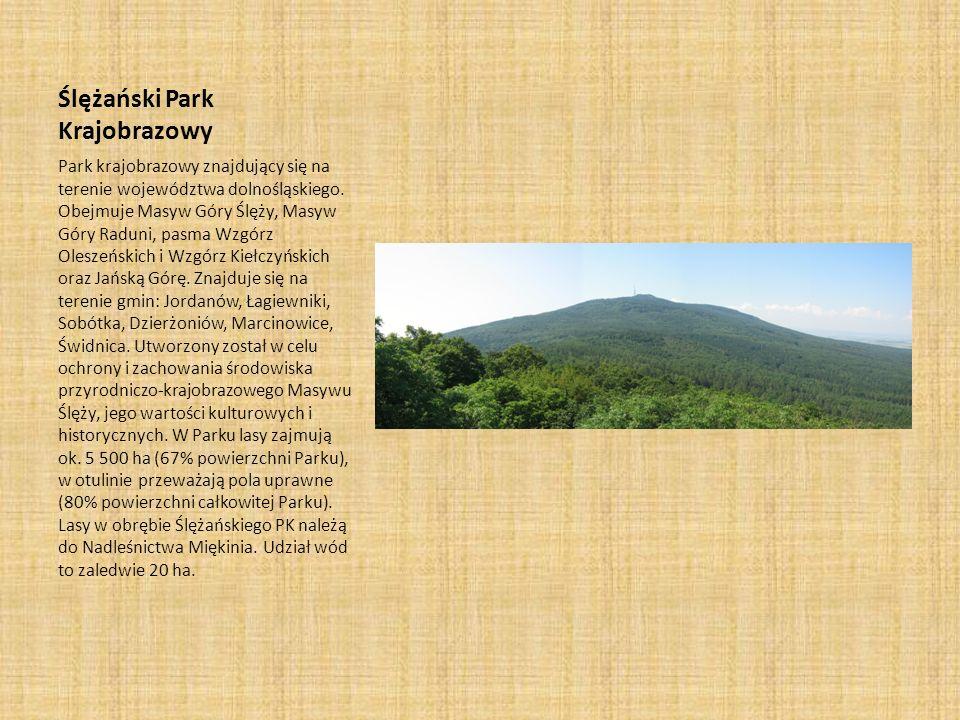 Ślężański Park Krajobrazowy Park krajobrazowy znajdujący się na terenie województwa dolnośląskiego. Obejmuje Masyw Góry Ślęży, Masyw Góry Raduni, pasm