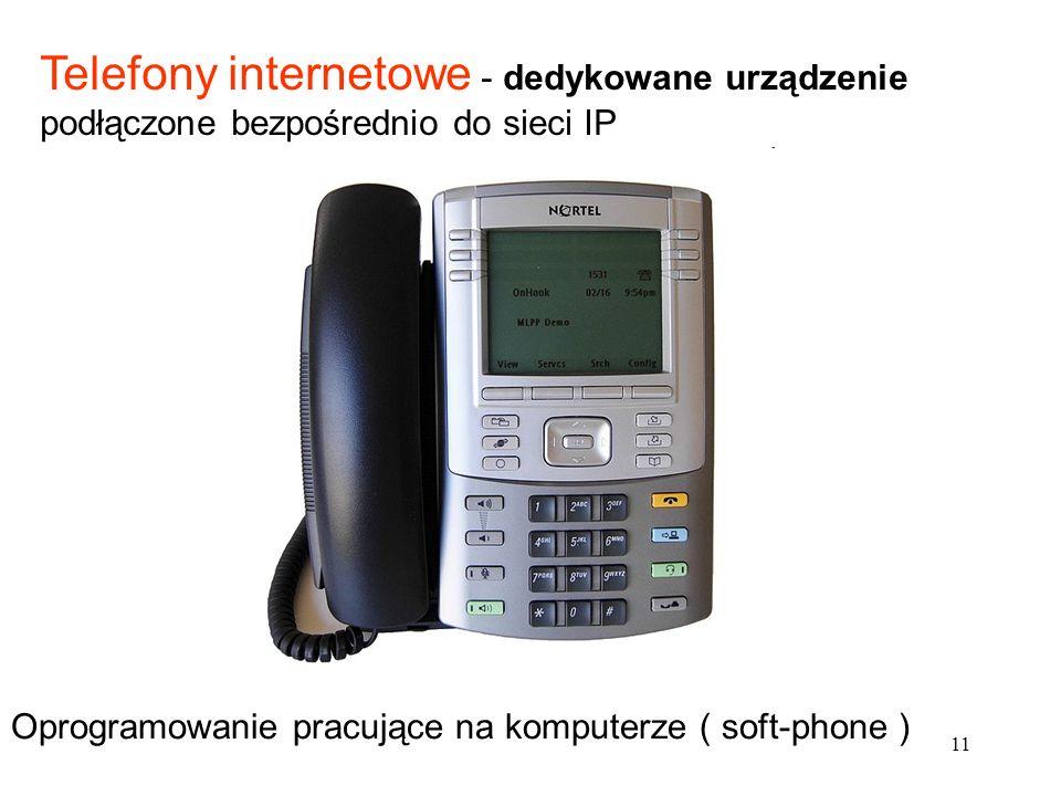 11 Telefony internetowe - dedykowane urządzenie podłączone bezpośrednio do sieci IP Oprogramowanie pracujące na komputerze ( soft-phone )
