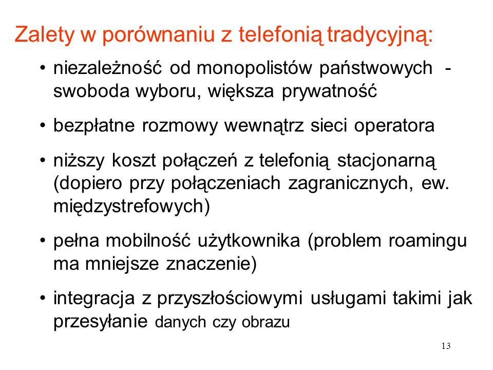13 niezależność od monopolistów państwowych - swoboda wyboru, większa prywatność bezpłatne rozmowy wewnątrz sieci operatora niższy koszt połączeń z te