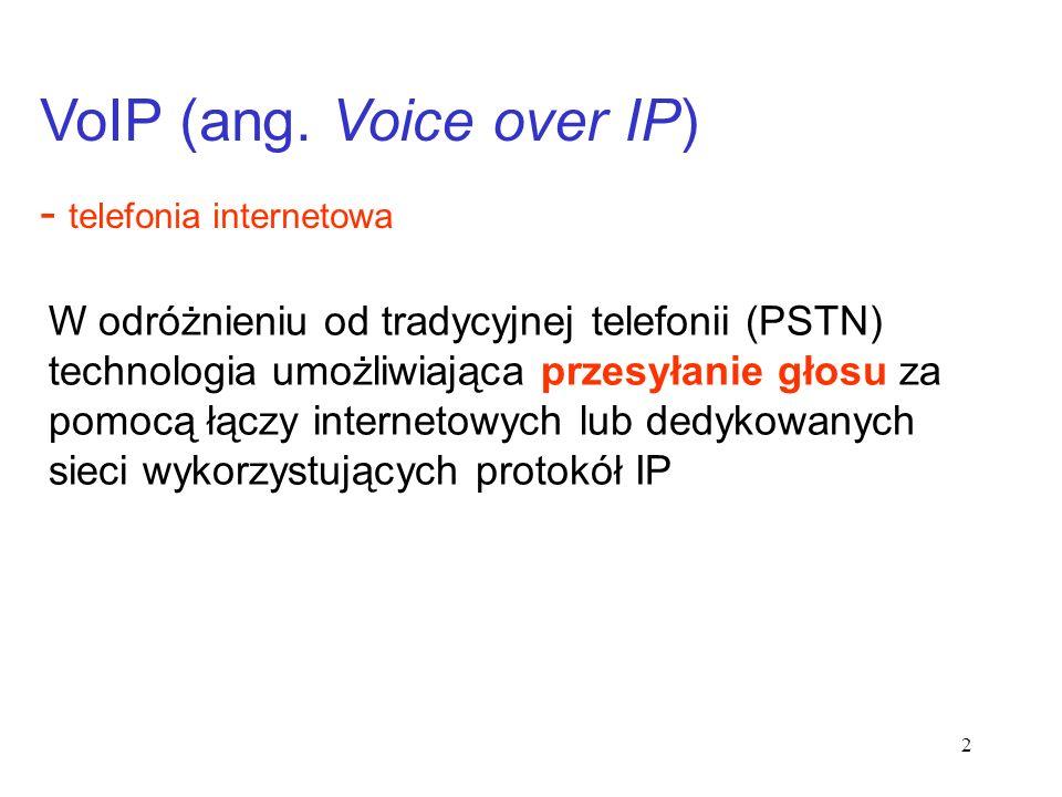 2 W odróżnieniu od tradycyjnej telefonii (PSTN) technologia umożliwiająca przesyłanie głosu za pomocą łączy internetowych lub dedykowanych sieci wykor