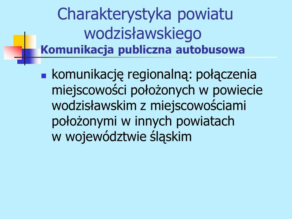 komunikację regionalną: połączenia miejscowości położonych w powiecie wodzisławskim z miejscowościami położonymi w innych powiatach w województwie ślą