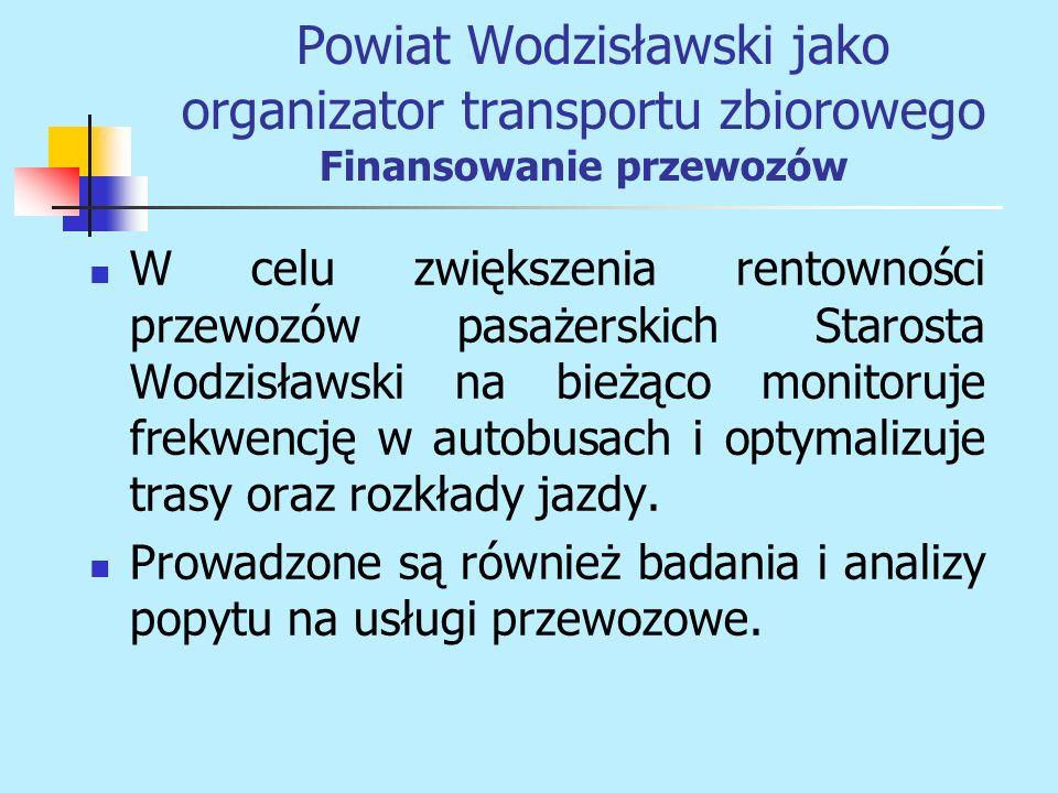 W celu zwiększenia rentowności przewozów pasażerskich Starosta Wodzisławski na bieżąco monitoruje frekwencję w autobusach i optymalizuje trasy oraz ro