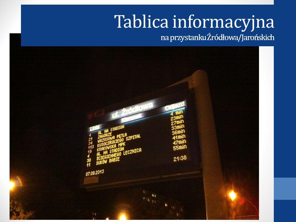 Tablica informacyjna na przystanku Źródłowa/Jarońskich