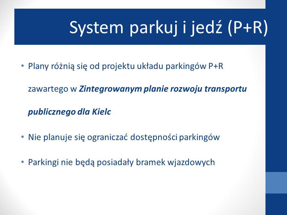 Plany różnią się od projektu układu parkingów P+R zawartego w Zintegrowanym planie rozwoju transportu publicznego dla Kielc Nie planuje się ograniczać