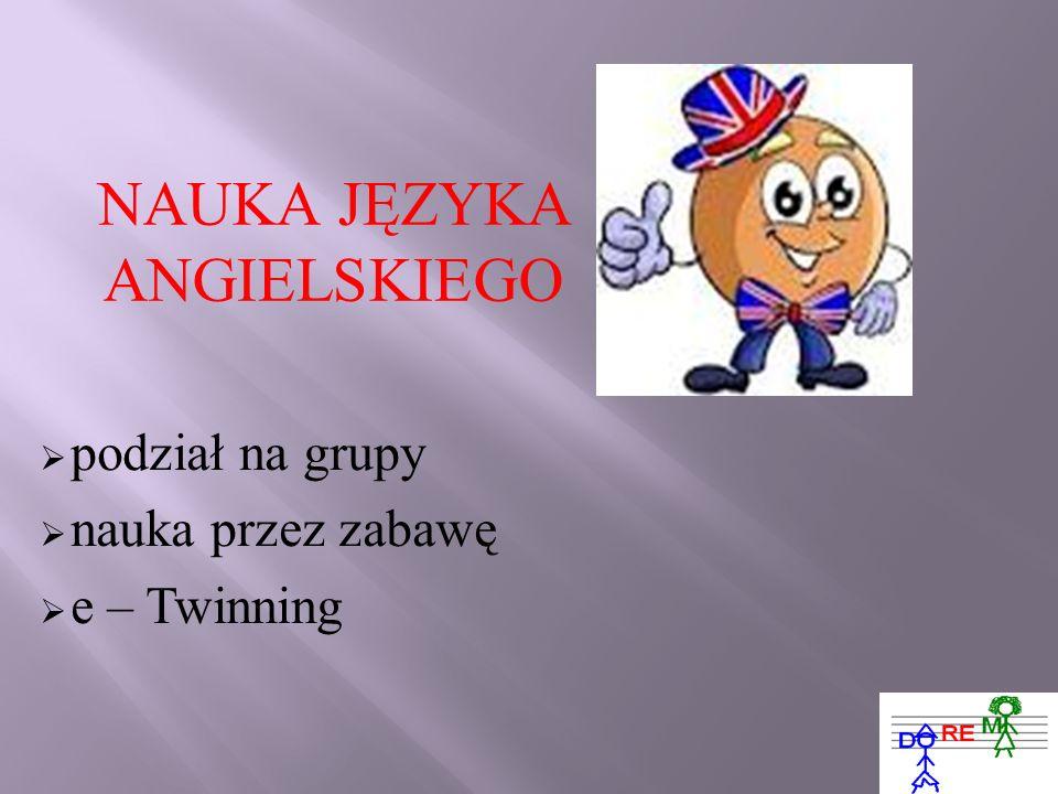 NAUKA JĘZYKA ANGIELSKIEGO podział na grupy nauka przez zabawę e – Twinning