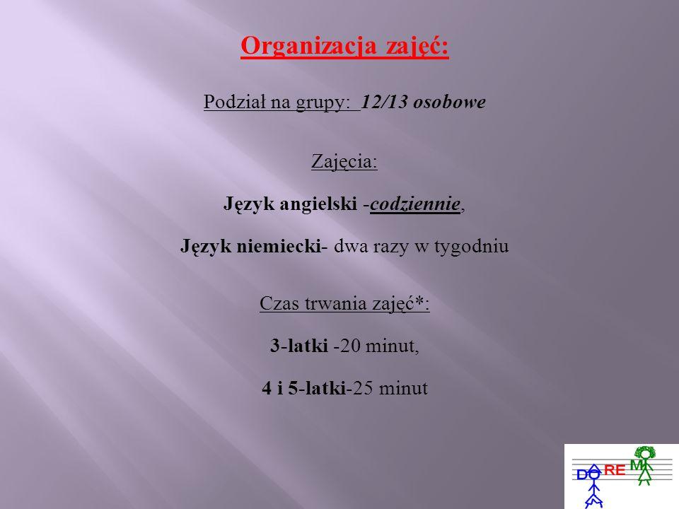 Organizacja zajęć: Podział na grupy: 12/13 osobowe Zajęcia: Język angielski -codziennie, Język niemiecki- dwa razy w tygodniu Czas trwania zajęć*: 3-l