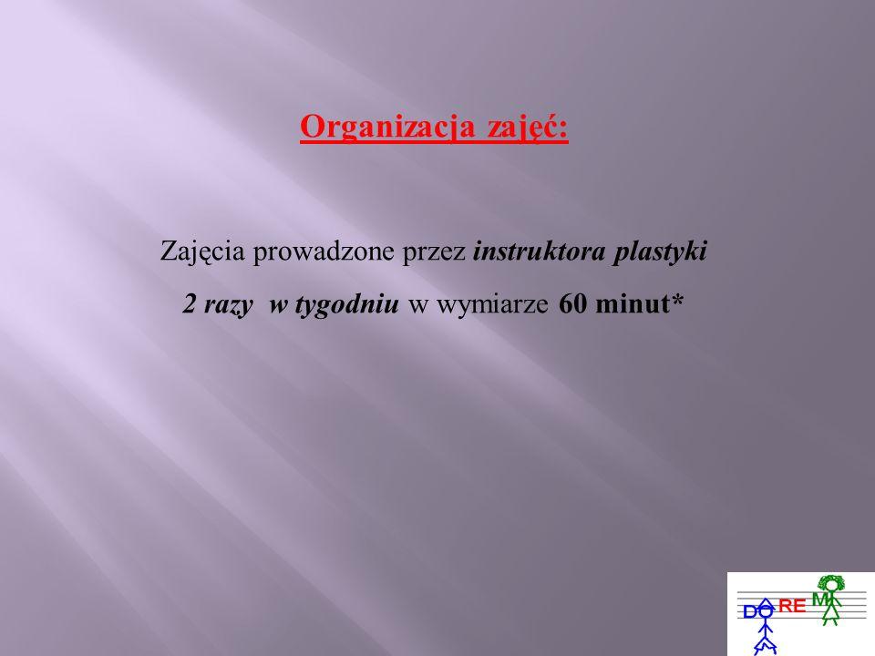 Organizacja zajęć: Zajęcia prowadzone przez instruktora plastyki 2 razy w tygodniu w wymiarze 60 minut*