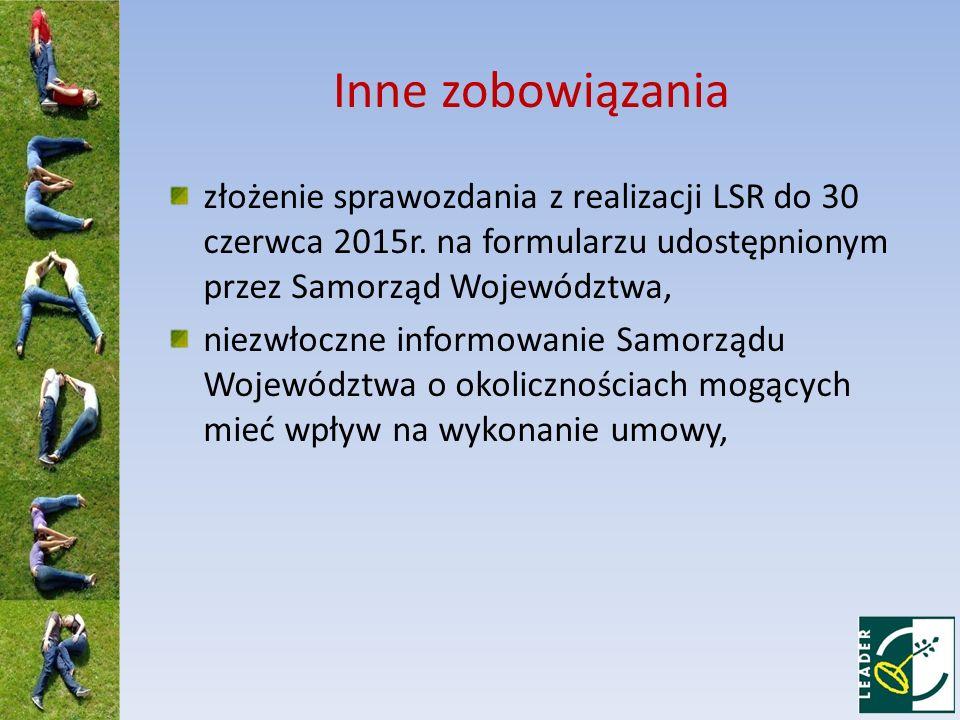 Inne zobowiązania złożenie sprawozdania z realizacji LSR do 30 czerwca 2015r.