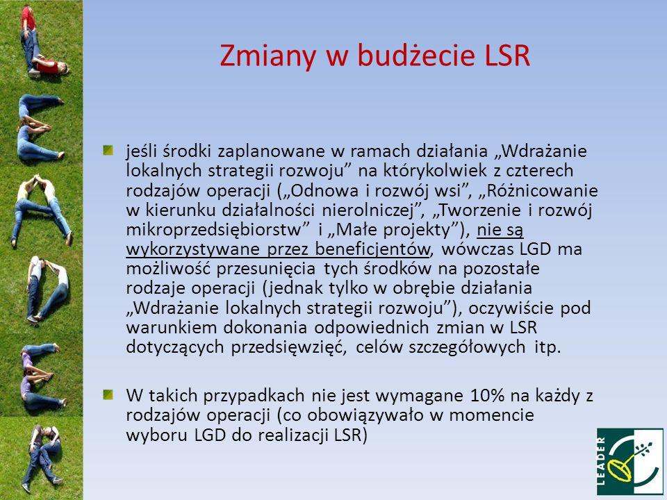 Zmiany w budżecie LSR jeśli środki zaplanowane w ramach działania Wdrażanie lokalnych strategii rozwoju na którykolwiek z czterech rodzajów operacji (Odnowa i rozwój wsi, Różnicowanie w kierunku działalności nierolniczej, Tworzenie i rozwój mikroprzedsiębiorstw i Małe projekty), nie są wykorzystywane przez beneficjentów, wówczas LGD ma możliwość przesunięcia tych środków na pozostałe rodzaje operacji (jednak tylko w obrębie działania Wdrażanie lokalnych strategii rozwoju), oczywiście pod warunkiem dokonania odpowiednich zmian w LSR dotyczących przedsięwzięć, celów szczegółowych itp.