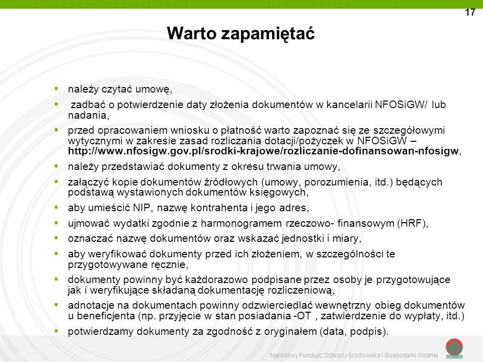 Narodowy Fundusz Ochrony Środowiska i Gospodarki Wodnej Warto zapamiętać należy czytać umowę, zadbać o potwierdzenie daty złożenia dokumentów w kancel