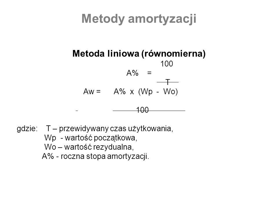 Metody amortyzacji Metoda liniowa (równomierna) 100 A% = T Aw = A% x (Wp - Wo) 100 gdzie: T – przewidywany czas użytkowania, Wp - wartość początkowa,