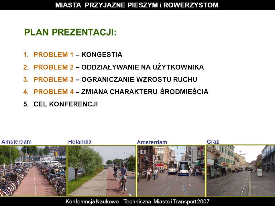 MIASTA PRZYJAZNE PIESZYM i ROWERZYSTOM Konferencja Naukowo – Techniczna Miasto i Transport 2007 PLAN PREZENTACJI: 1.PROBLEM 1 – KONGESTIA 2.PROBLEM 2