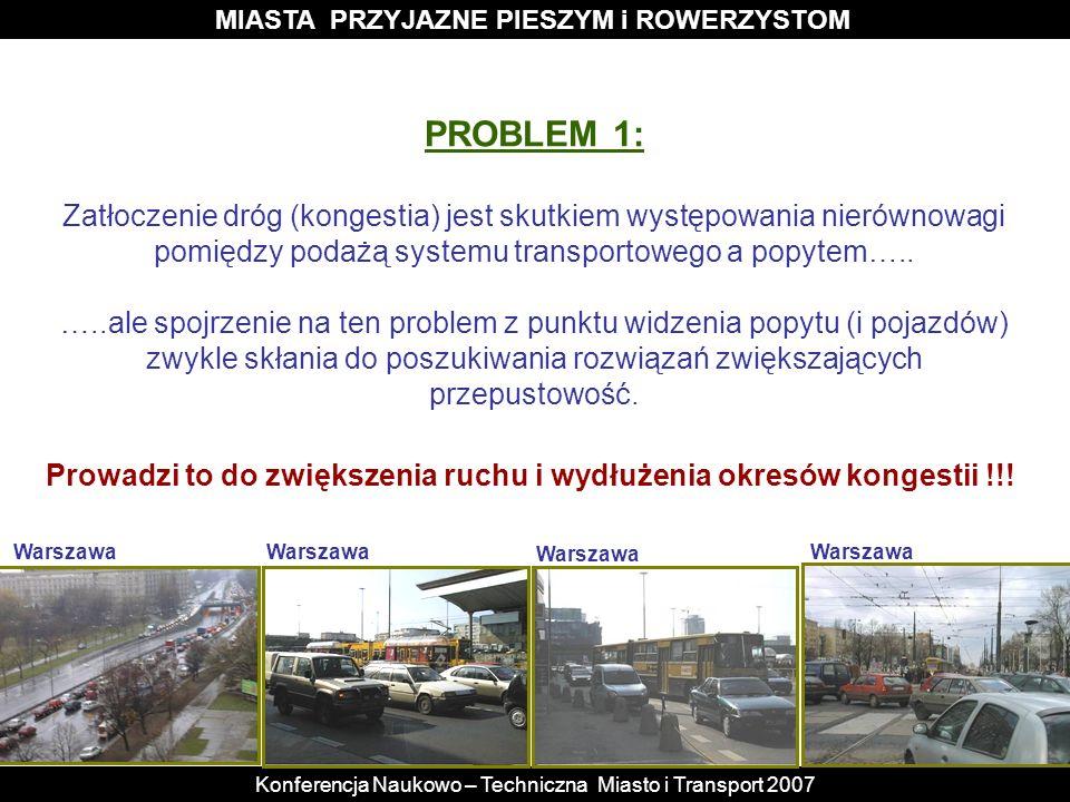 MIASTA PRZYJAZNE PIESZYM i ROWERZYSTOM Konferencja Naukowo – Techniczna Miasto i Transport 2007 PROBLEM 1: Zatłoczenie dróg (kongestia) jest skutkiem