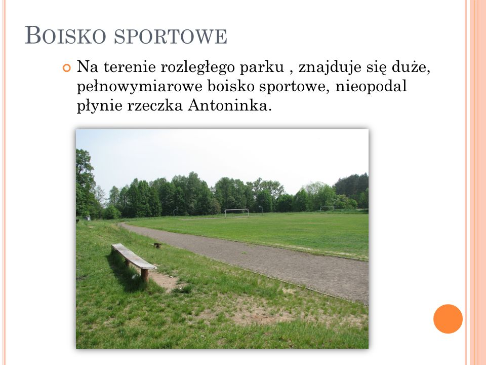 B OISKO SPORTOWE Na terenie rozległego parku, znajduje się duże, pełnowymiarowe boisko sportowe, nieopodal płynie rzeczka Antoninka.