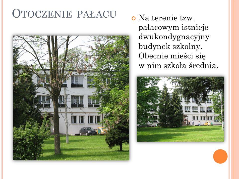 O TOCZENIE PAŁACU Na terenie tzw. pałacowym istnieje dwukondygnacyjny budynek szkolny. Obecnie mieści się w nim szkoła średnia.