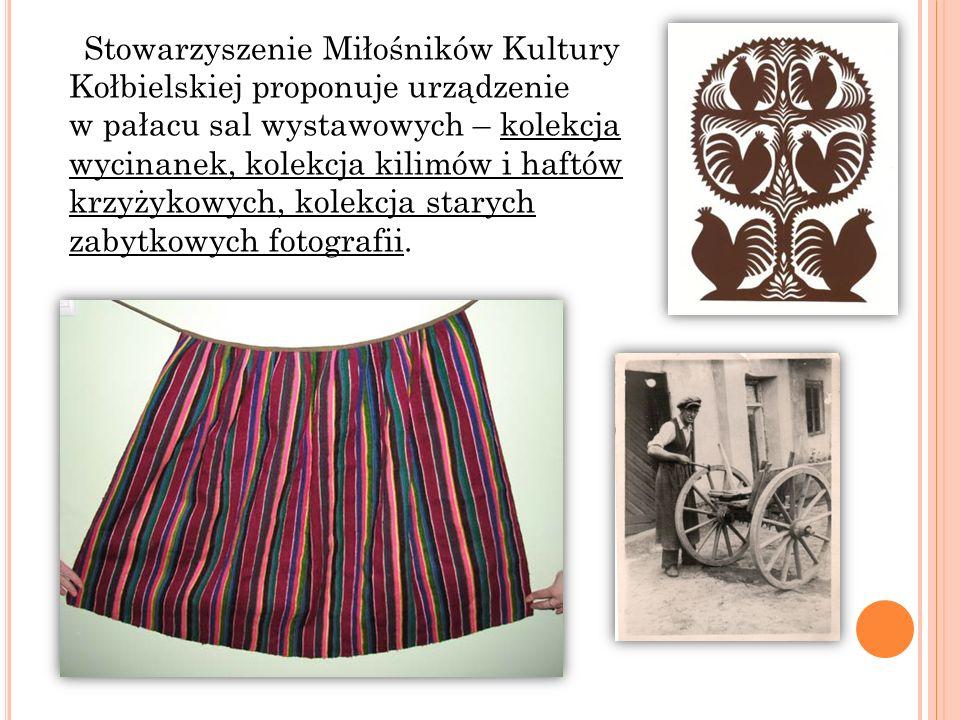 Stowarzyszenie Miłośników Kultury Kołbielskiej proponuje urządzenie w pałacu sal wystawowych – kolekcja wycinanek, kolekcja kilimów i haftów krzyżykowych, kolekcja starych zabytkowych fotografii.