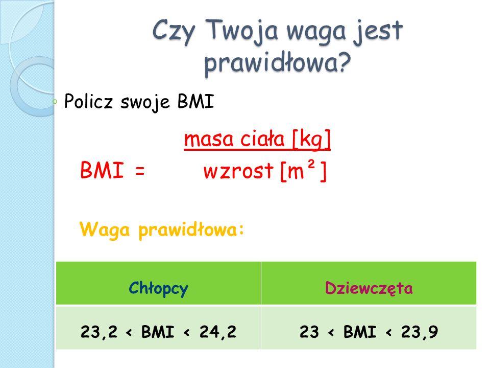 Czy Twoja waga jest prawidłowa? Policz swoje BMI masa ciała [kg] BMI = wzrost [m²] Waga prawidłowa: ChłopcyDziewczęta 23,2 < BMI < 24,223 < BMI < 23,9