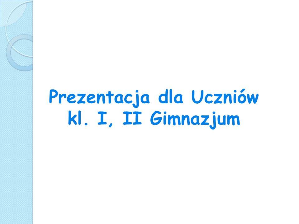 Prezentacja dla Uczniów kl. I, II Gimnazjum