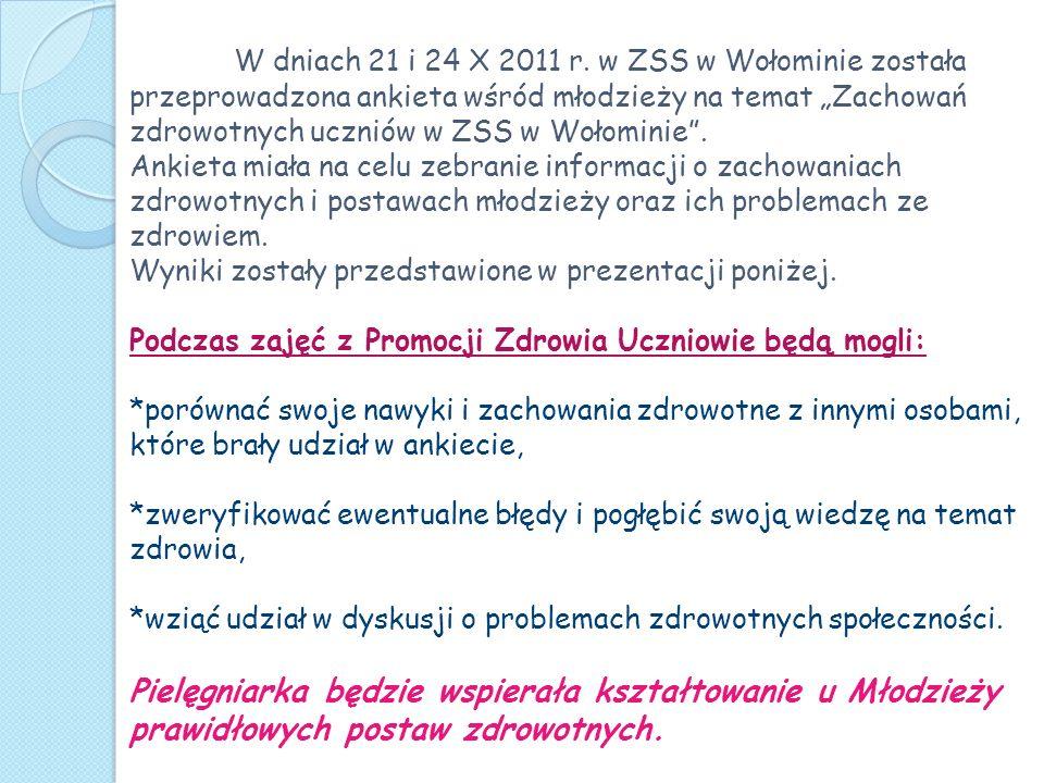 W dniach 21 i 24 X 2011 r. w ZSS w Wołominie została przeprowadzona ankieta wśród młodzieży na temat Zachowań zdrowotnych uczniów w ZSS w Wołominie. A