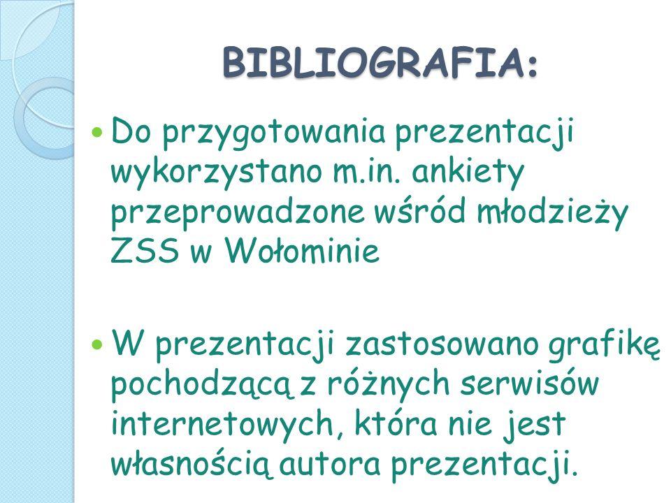 BIBLIOGRAFIA : Do przygotowania prezentacji wykorzystano m.in. ankiety przeprowadzone wśród młodzieży ZSS w Wołominie W prezentacji zastosowano grafik