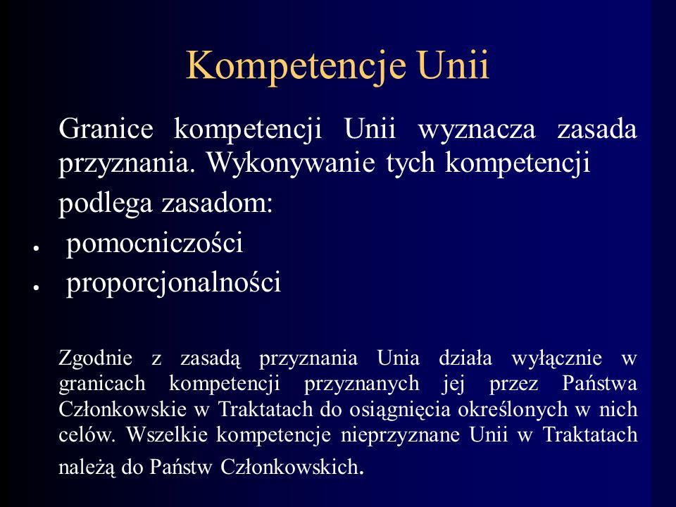Kompetencje Unii Granice kompetencji Unii wyznacza zasada przyznania.
