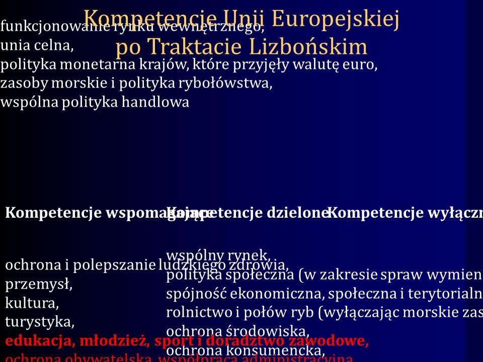 Kompetencje wyłączne funkcjonowanie rynku wewnętrznego, unia celna, polityka monetarna krajów, które przyjęły walutę euro, zasoby morskie i polityka rybołówstwa, wspólna polityka handlowa wspólny rynek, polityka społeczna (w zakresie spraw wymienionych w Traktacie), spójność ekonomiczna, społeczna i terytorialna, rolnictwo i połów ryb (wyłączając morskie zasoby), ochrona środowiska, ochrona konsumencka, transport, sieci, drogi, Kompetencje wspomagające ochrona i polepszanie ludzkiego zdrowia, przemysł, kultura, turystyka, edukacja, młodzież, sport i doradztwo zawodowe, ochrona obywatelska, współpraca administracyjna Kompetencje dzielone Kompetencje Unii Europejskiej po Traktacie Lizbońskim
