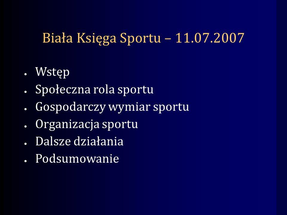 Biała Księga Sportu – 11.07.2007 Wstęp Społeczna rola sportu Gospodarczy wymiar sportu Organizacja sportu Dalsze działania Podsumowanie