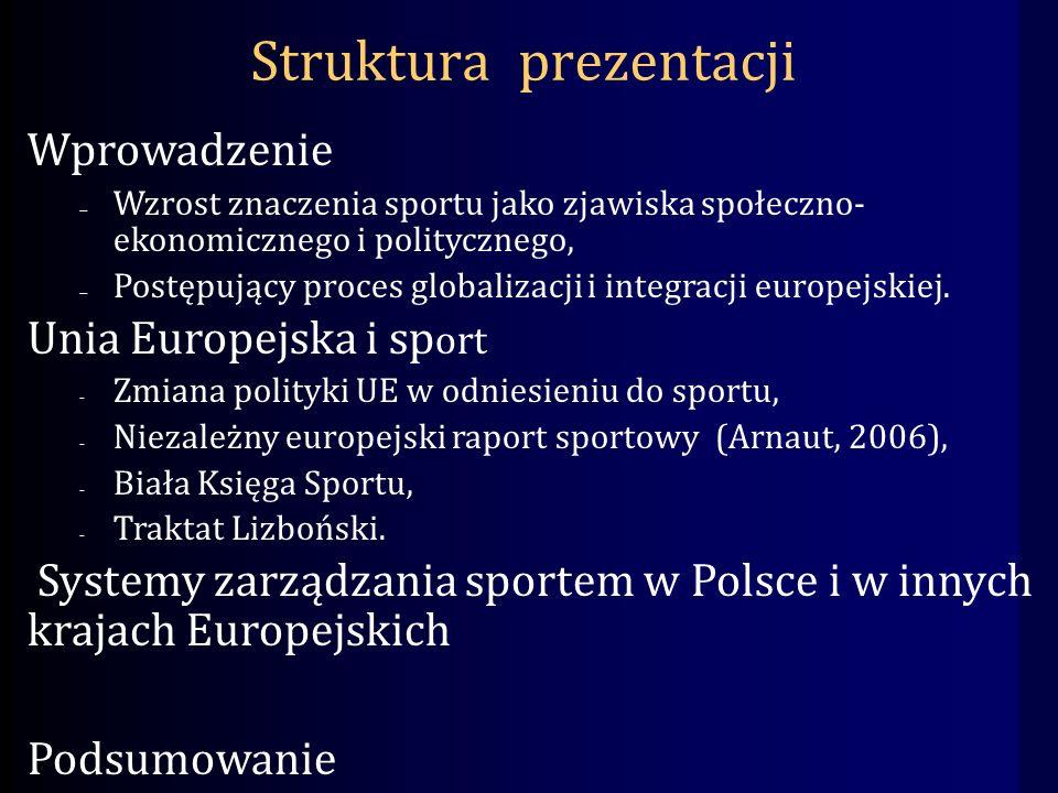 Struktura prezentacji Wprowadzenie Wzrost znaczenia sportu jako zjawiska społeczno- ekonomicznego i politycznego, Postępujący proces globalizacji i integracji europejskiej.