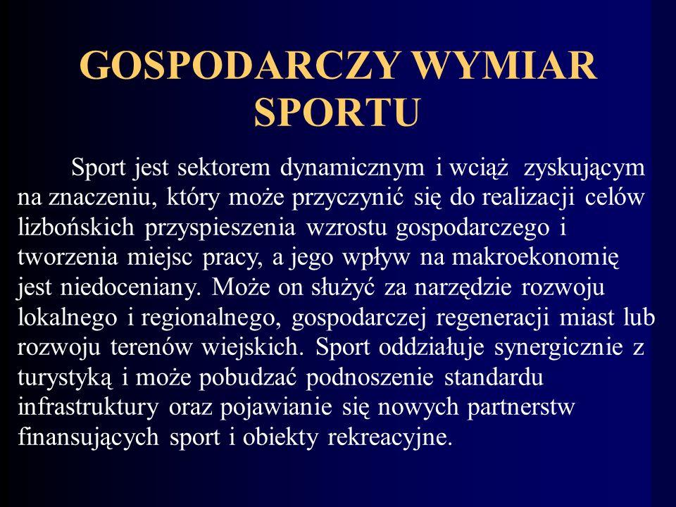 GOSPODARCZY WYMIAR SPORTU Sport jest sektorem dynamicznym i wciąż zyskującym na znaczeniu, który może przyczynić się do realizacji celów lizbońskich przyspieszenia wzrostu gospodarczego i tworzenia miejsc pracy, a jego wpływ na makroekonomię jest niedoceniany.