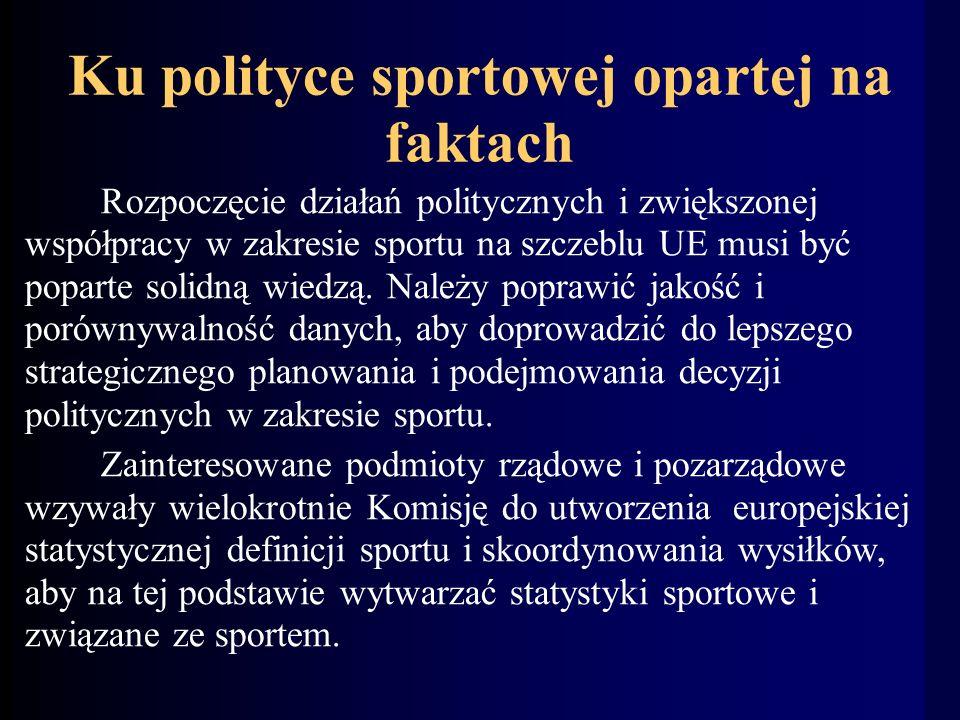 Ku polityce sportowej opartej na faktach Rozpoczęcie działań politycznych i zwiększonej współpracy w zakresie sportu na szczeblu UE musi być poparte solidną wiedzą.