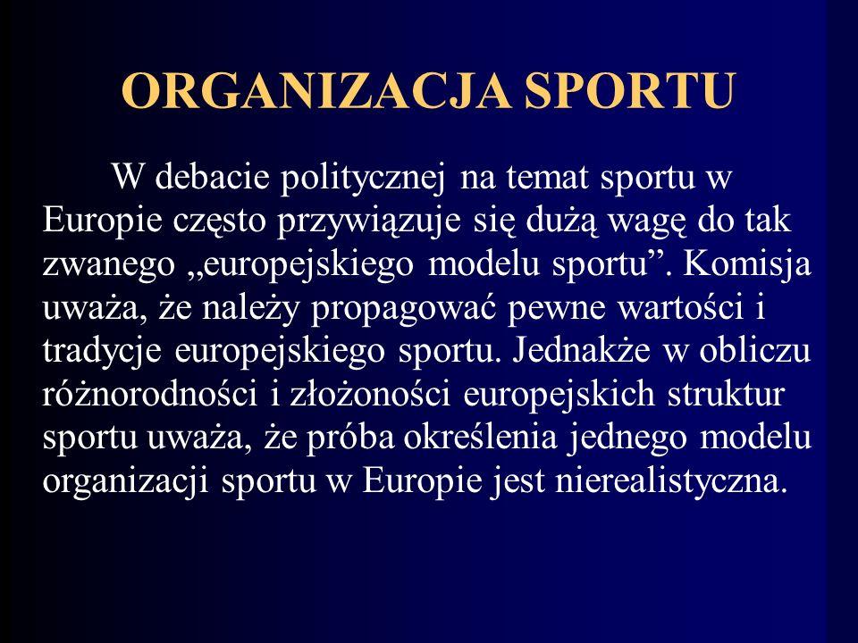 ORGANIZACJA SPORTU W debacie politycznej na temat sportu w Europie często przywiązuje się dużą wagę do tak zwanego europejskiego modelu sportu.