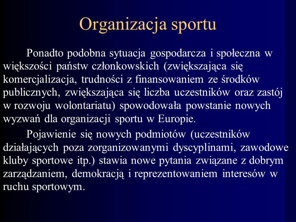 Organizacja sportu Ponadto podobna sytuacja gospodarcza i społeczna w większości państw członkowskich (zwiększająca się komercjalizacja, trudności z finansowaniem ze środków publicznych, zwiększająca się liczba uczestników oraz zastój w rozwoju wolontariatu) spowodowała powstanie nowych wyzwań dla organizacji sportu w Europie.