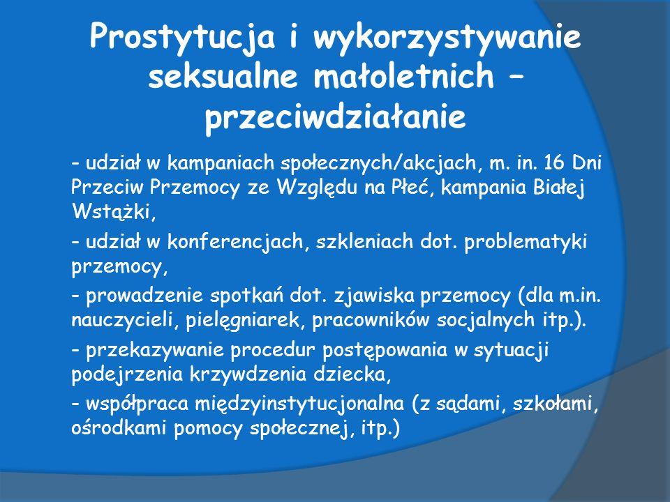 Prostytucja i wykorzystywanie seksualne małoletnich – przeciwdziałanie - udział w kampaniach społecznych/akcjach, m.