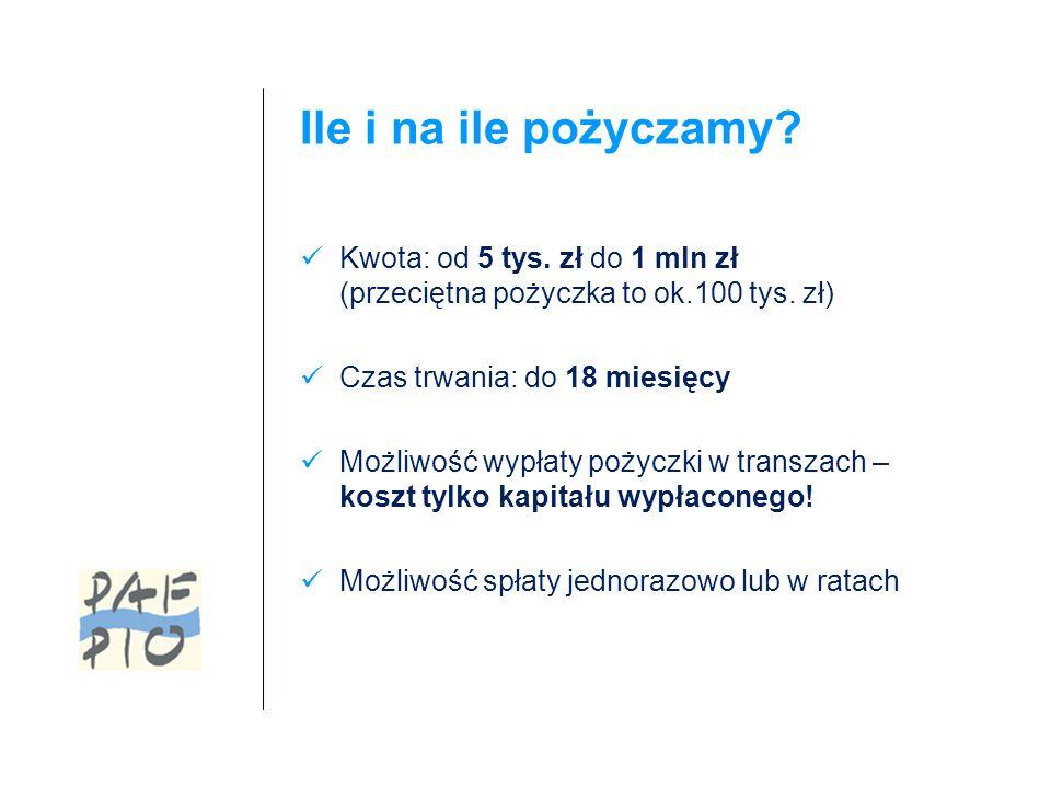 Ile i na ile pożyczamy. Kwota: od 5 tys. zł do 1 mln zł (przeciętna pożyczka to ok.100 tys.