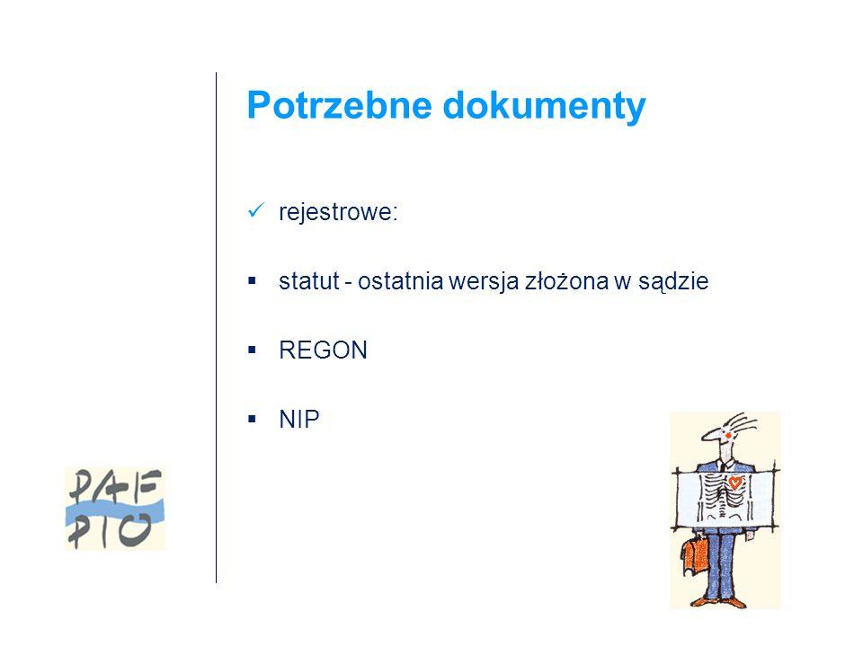 Potrzebne dokumenty rejestrowe: statut - ostatnia wersja złożona w sądzie REGON NIP