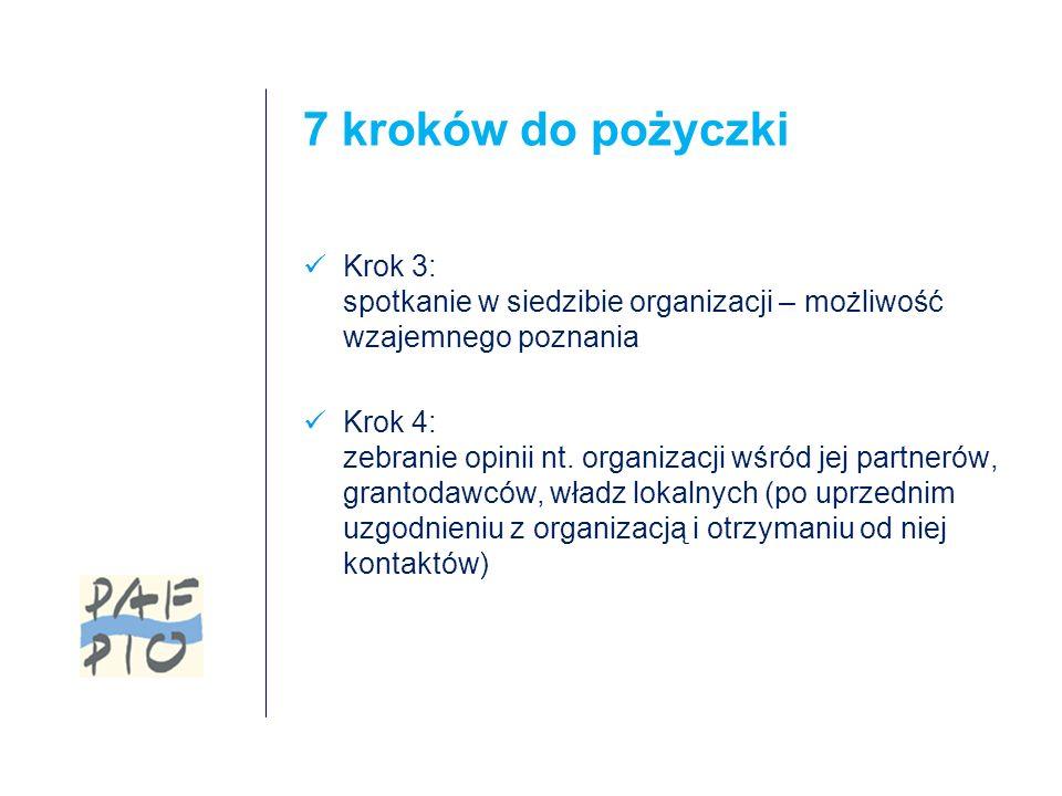 7 kroków do pożyczki Krok 3: spotkanie w siedzibie organizacji – możliwość wzajemnego poznania Krok 4: zebranie opinii nt.