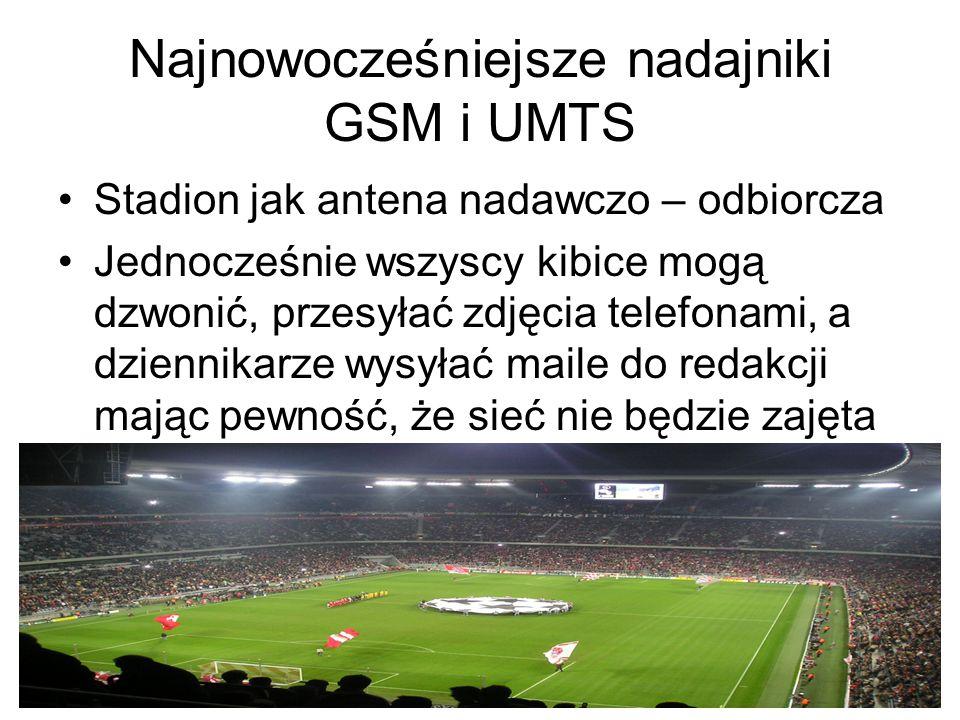 Najnowocześniejsze nadajniki GSM i UMTS Stadion jak antena nadawczo – odbiorcza Jednocześnie wszyscy kibice mogą dzwonić, przesyłać zdjęcia telefonami