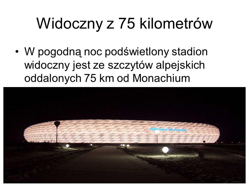 Widoczny z 75 kilometrów W pogodną noc podświetlony stadion widoczny jest ze szczytów alpejskich oddalonych 75 km od Monachium