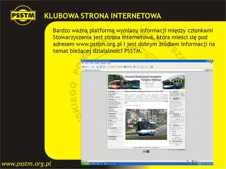 KLUBOWA STRONA INTERNETOWA Bardzo ważną platformą wymiany informacji między członkami Stowarzyszenia jest strona internetowa, która mieści się pod adr